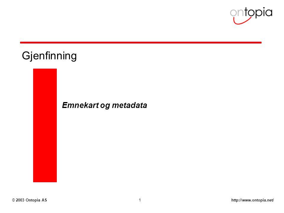 http://www.ontopia.net/© 2003 Ontopia AS1 Gjenfinning Emnekart og metadata