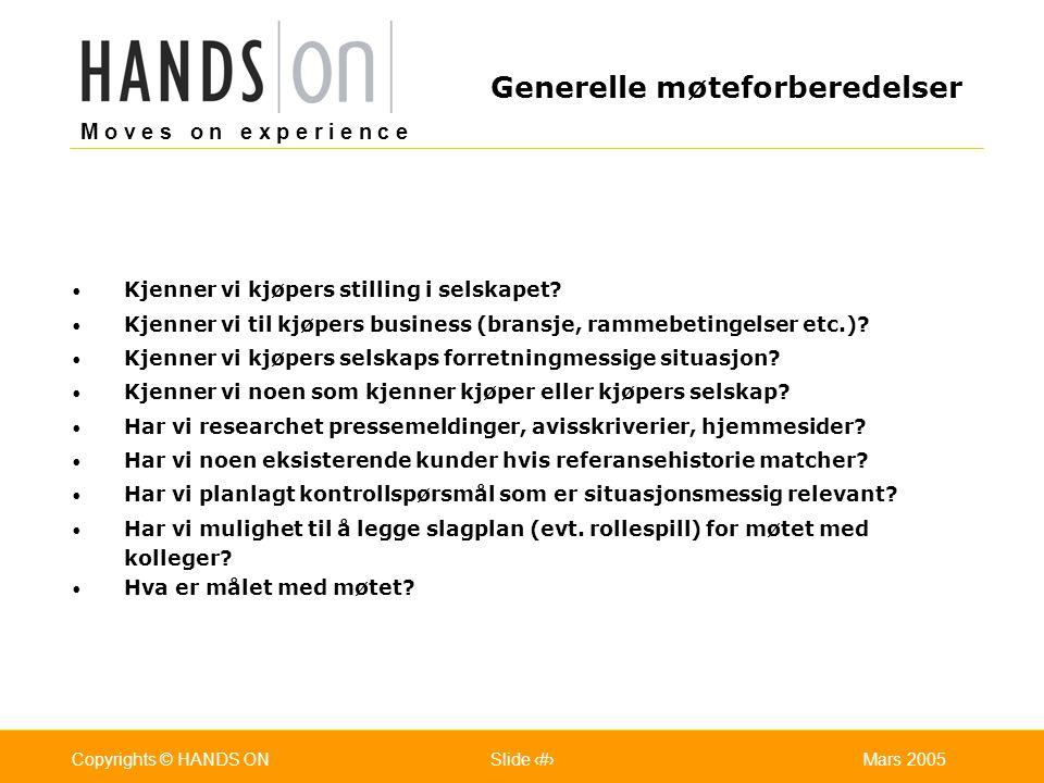 M o v e s o n e x p e r i e n c e Oslo 25.07.2001Copyrights © HANDS ONPage / Pages 14Mars 2005Copyrights © HANDS ONSlide 14 Kjenner vi kjøpers stilling i selskapet.