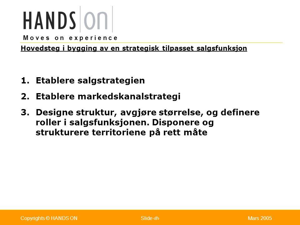 M o v e s o n e x p e r i e n c e Oslo 25.07.2001Copyrights © HANDS ONPage / Pages 8Mars 2005Copyrights © HANDS ONSlide 8 1.Etablere salgstrategien 2.Etablere markedskanalstrategi 3.Designe struktur, avgjøre størrelse, og definere roller i salgsfunksjonen.
