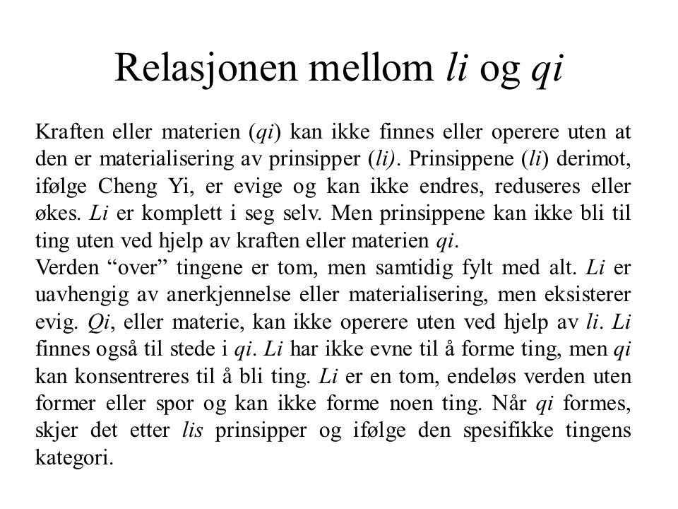 Relasjonen mellom li og qi Kraften eller materien (qi) kan ikke finnes eller operere uten at den er materialisering av prinsipper (li).