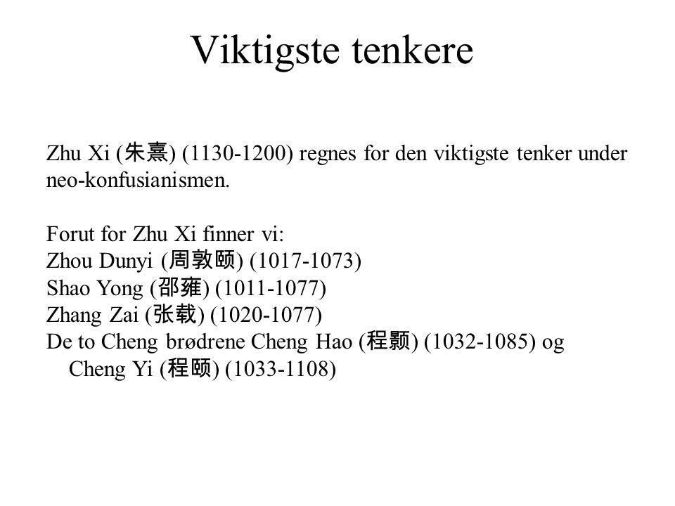 Viktigste tenkere Zhu Xi ( 朱熹 ) (1130-1200) regnes for den viktigste tenker under neo-konfusianismen.