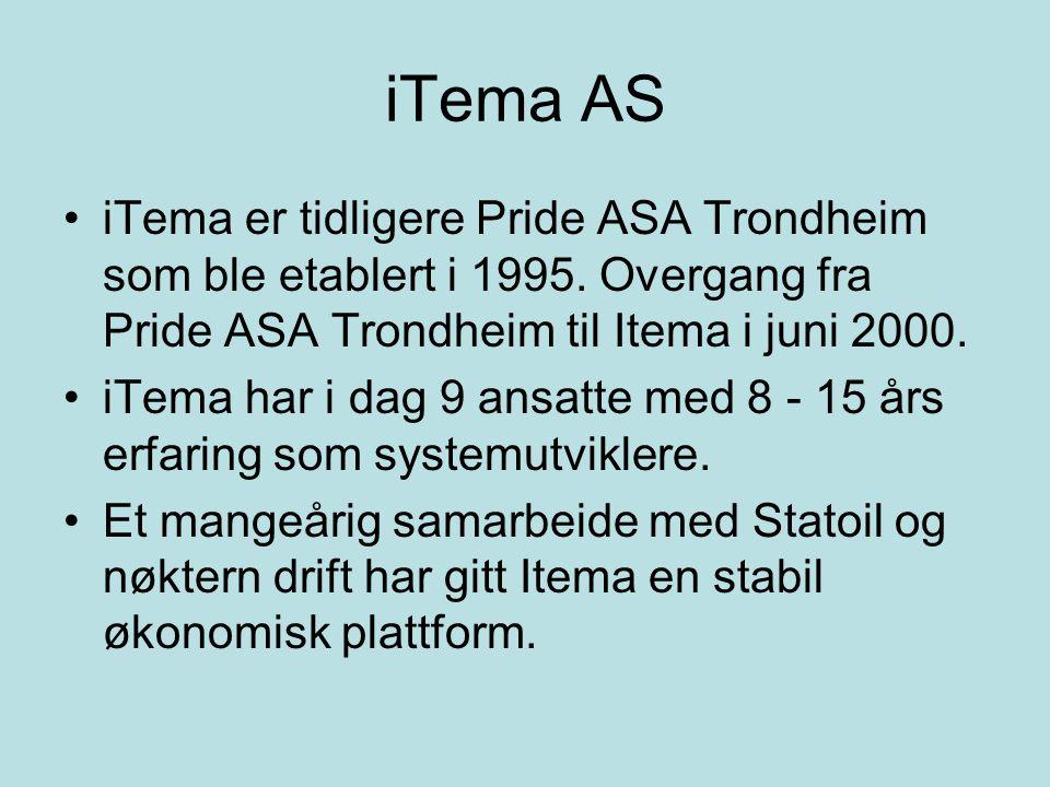 iTema AS iTema er tidligere Pride ASA Trondheim som ble etablert i 1995. Overgang fra Pride ASA Trondheim til Itema i juni 2000. iTema har i dag 9 ans