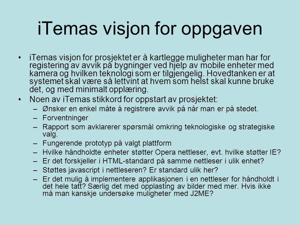 iTemas visjon for oppgaven iTemas visjon for prosjektet er å kartlegge muligheter man har for registering av avvik på bygninger ved hjelp av mobile enheter med kamera og hvilken teknologi som er tilgjengelig.