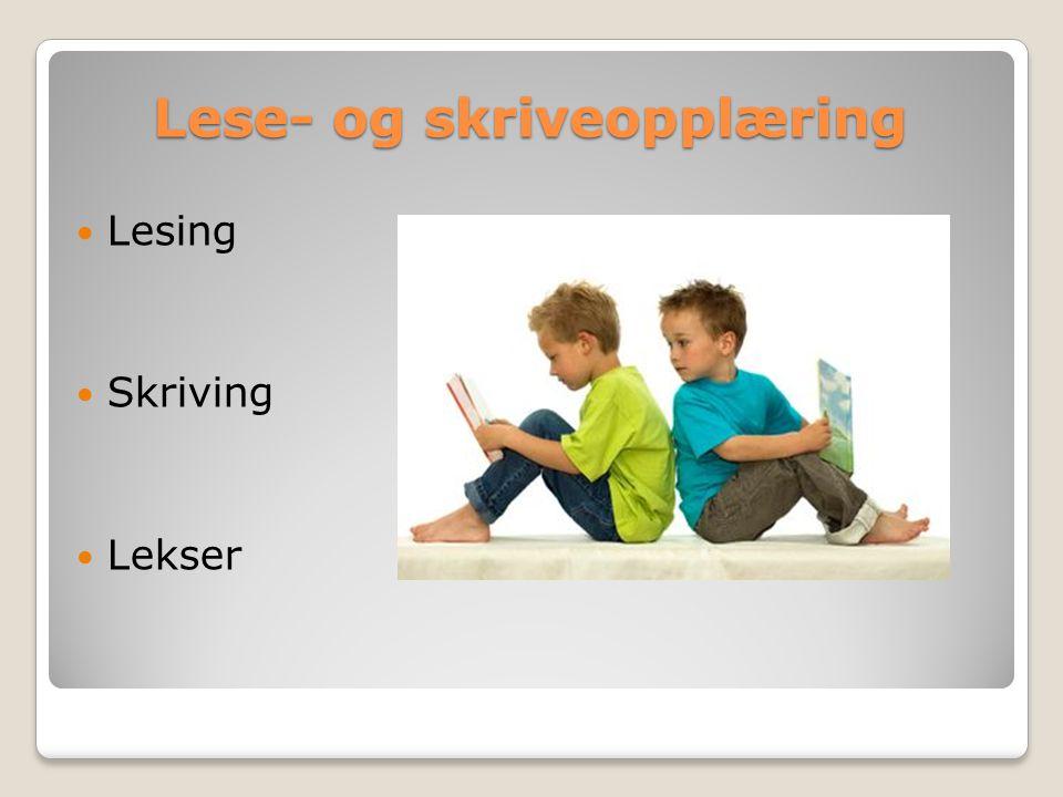 Lese- og skriveopplæring Lesing Skriving Lekser