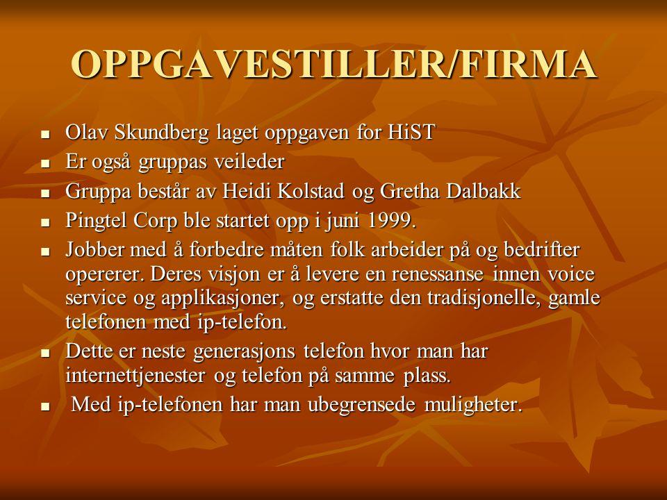 OPPGAVESTILLER/FIRMA Olav Skundberg laget oppgaven for HiST Olav Skundberg laget oppgaven for HiST Er også gruppas veileder Er også gruppas veileder Gruppa består av Heidi Kolstad og Gretha Dalbakk Gruppa består av Heidi Kolstad og Gretha Dalbakk Pingtel Corp ble startet opp i juni 1999.