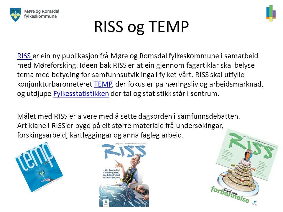 RISS og TEMP RISS RISS er ein ny publikasjon frå Møre og Romsdal fylkeskommune i samarbeid med Møreforsking. Ideen bak RISS er at ein gjennom fagartik