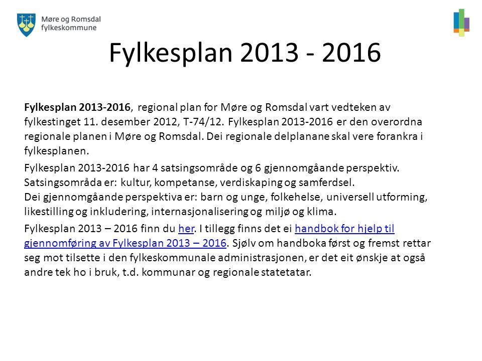 Fylkesplan 2013 - 2016 Fylkesplan 2013-2016, regional plan for Møre og Romsdal vart vedteken av fylkestinget 11. desember 2012, T-74/12. Fylkesplan 20