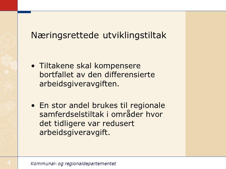 Kommunal- og regionaldepartementet 4 Næringsrettede utviklingstiltak Tiltakene skal kompensere bortfallet av den differensierte arbeidsgiveravgiften.