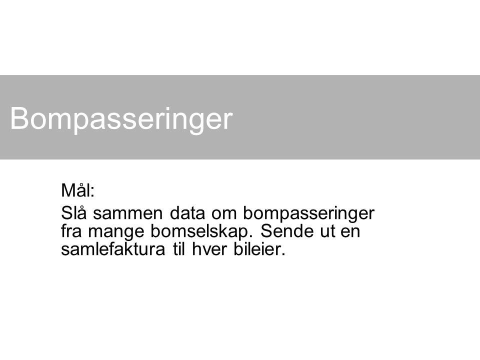 Bompasseringer Mål: Slå sammen data om bompasseringer fra mange bomselskap. Sende ut en samlefaktura til hver bileier.