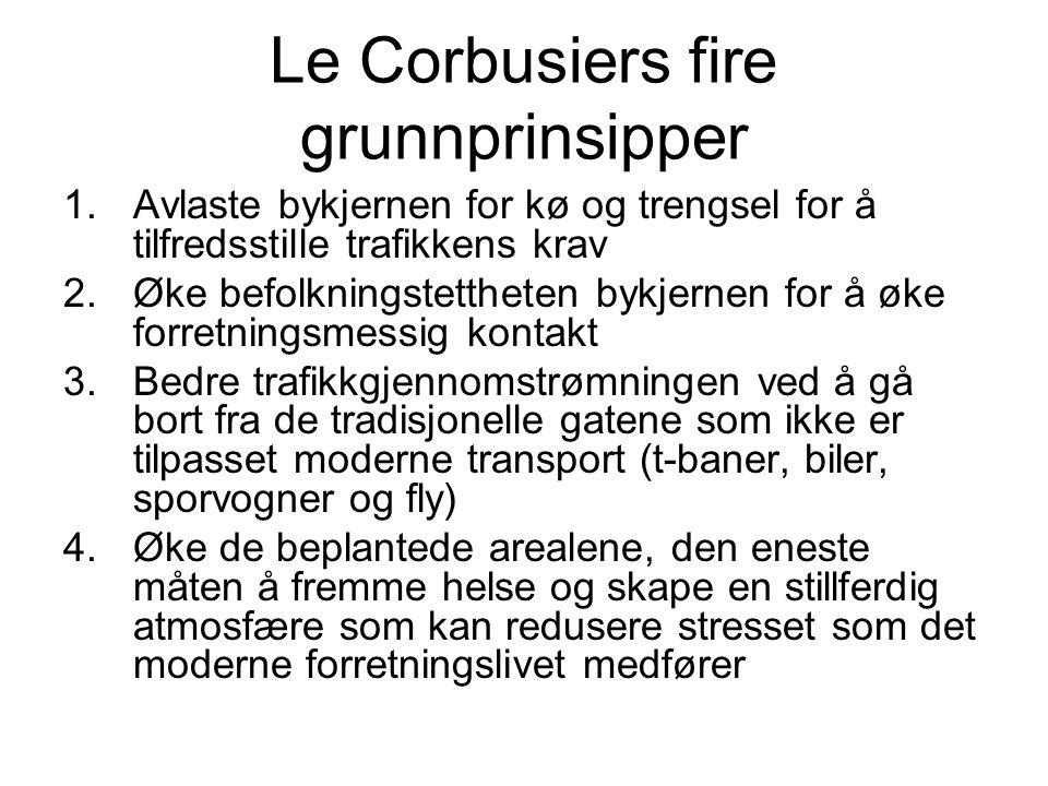 Le Corbusiers fire grunnprinsipper 1.Avlaste bykjernen for kø og trengsel for å tilfredsstille trafikkens krav 2.Øke befolkningstettheten bykjernen fo