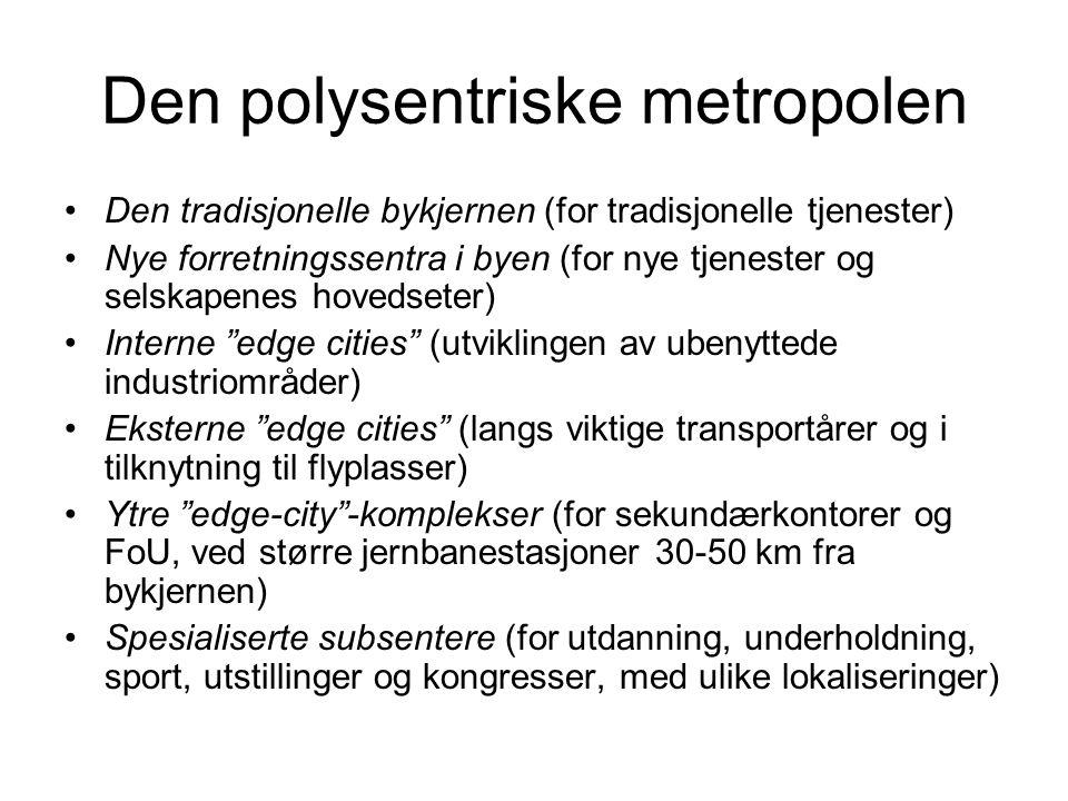 Den polysentriske metropolen Den tradisjonelle bykjernen (for tradisjonelle tjenester) Nye forretningssentra i byen (for nye tjenester og selskapenes hovedseter) Interne edge cities (utviklingen av ubenyttede industriområder) Eksterne edge cities (langs viktige transportårer og i tilknytning til flyplasser) Ytre edge-city -komplekser (for sekundærkontorer og FoU, ved større jernbanestasjoner 30-50 km fra bykjernen) Spesialiserte subsentere (for utdanning, underholdning, sport, utstillinger og kongresser, med ulike lokaliseringer)