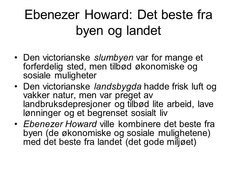 Ebenezer Howard: Det beste fra byen og landet Den victorianske slumbyen var for mange et forferdelig sted, men tilbød økonomiske og sosiale muligheter