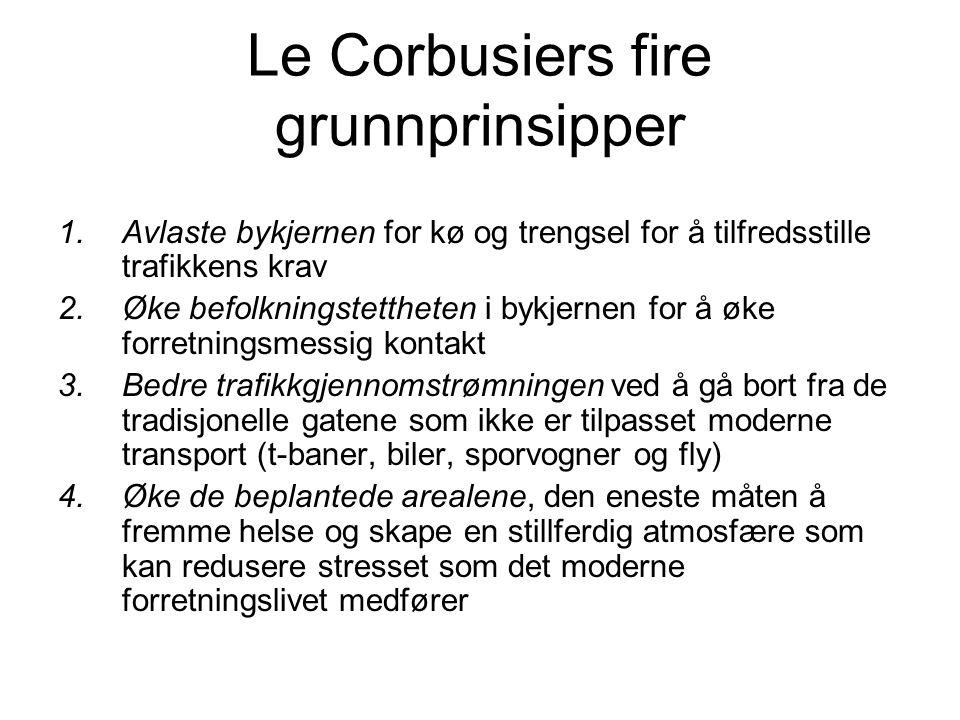 Le Corbusiers fire grunnprinsipper 1.Avlaste bykjernen for kø og trengsel for å tilfredsstille trafikkens krav 2.Øke befolkningstettheten i bykjernen
