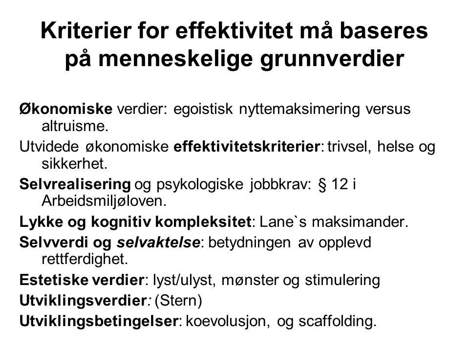 Kriterier for effektivitet må baseres på menneskelige grunnverdier Økonomiske verdier: egoistisk nyttemaksimering versus altruisme. Utvidede økonomisk
