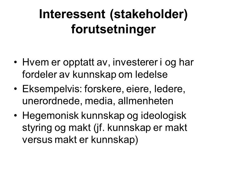 Interessent (stakeholder) forutsetninger Hvem er opptatt av, investerer i og har fordeler av kunnskap om ledelse Eksempelvis: forskere, eiere, ledere,