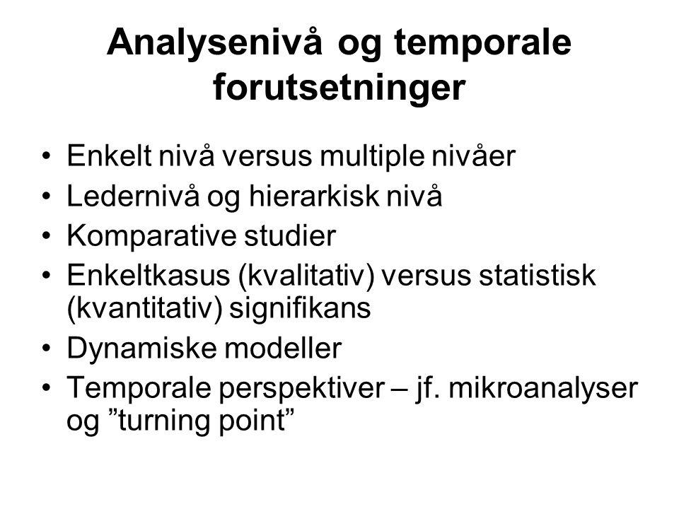 Analysenivå og temporale forutsetninger Enkelt nivå versus multiple nivåer Ledernivå og hierarkisk nivå Komparative studier Enkeltkasus (kvalitativ) v