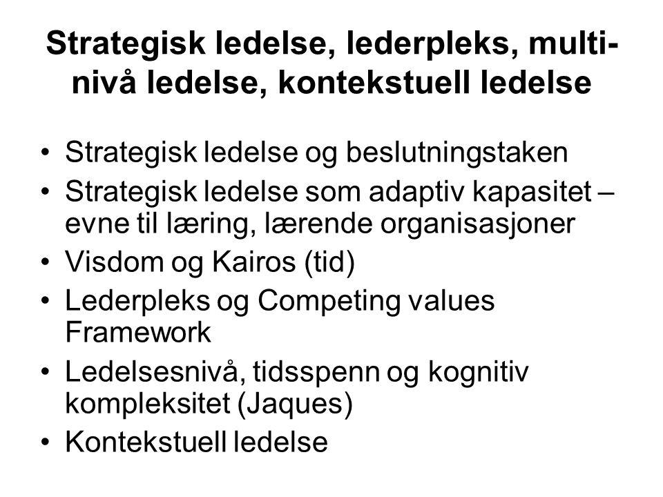 Strategisk ledelse, lederpleks, multi- nivå ledelse, kontekstuell ledelse Strategisk ledelse og beslutningstaken Strategisk ledelse som adaptiv kapasi