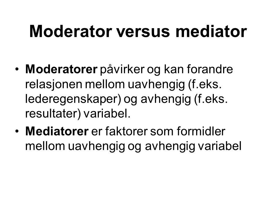 Moderator versus mediator Moderatorer påvirker og kan forandre relasjonen mellom uavhengig (f.eks. lederegenskaper) og avhengig (f.eks. resultater) va