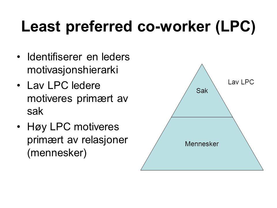 Least preferred co-worker (LPC) Identifiserer en leders motivasjonshierarki Lav LPC ledere motiveres primært av sak Høy LPC motiveres primært av relas
