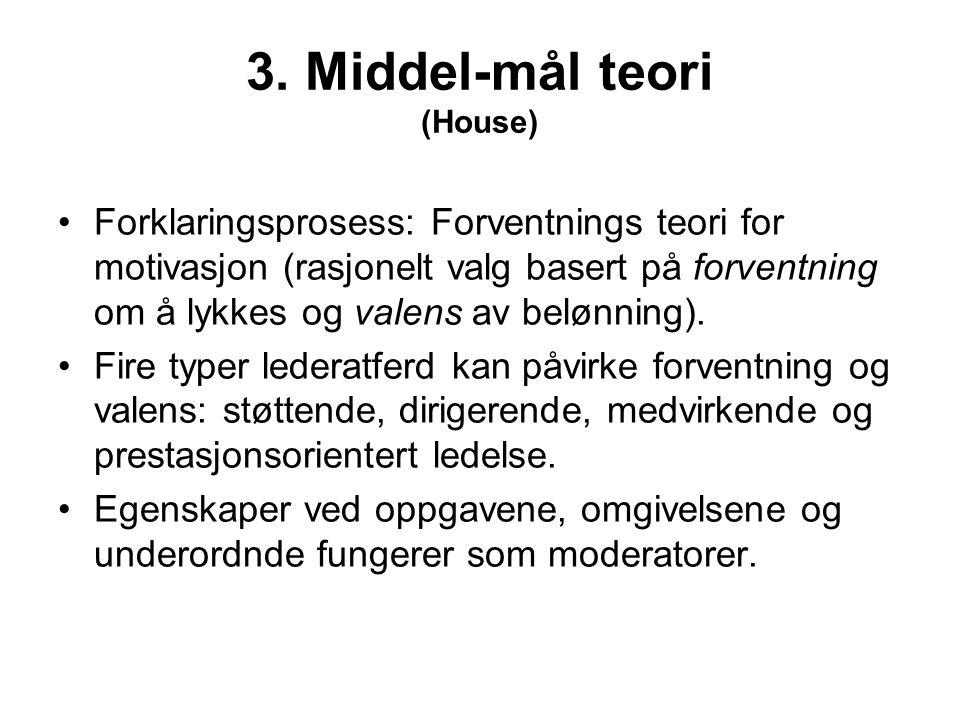 3. Middel-mål teori (House) Forklaringsprosess: Forventnings teori for motivasjon (rasjonelt valg basert på forventning om å lykkes og valens av beløn