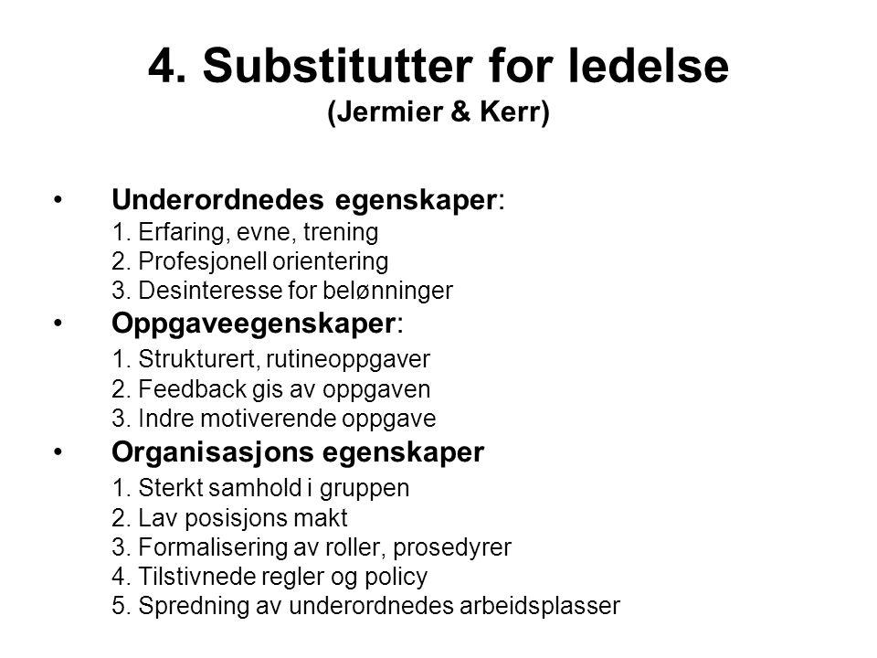 4. Substitutter for ledelse (Jermier & Kerr) Underordnedes egenskaper: 1. Erfaring, evne, trening 2. Profesjonell orientering 3. Desinteresse for belø