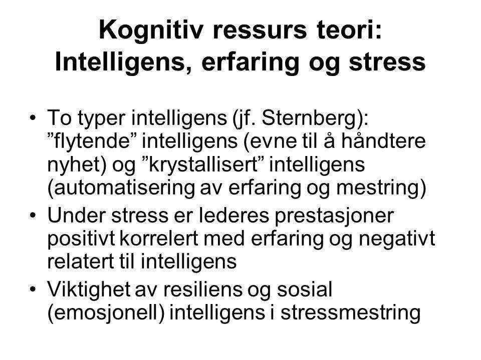 """Kognitiv ressurs teori: Intelligens, erfaring og stress To typer intelligens (jf. Sternberg): """"flytende"""" intelligens (evne til å håndtere nyhet) og """"k"""