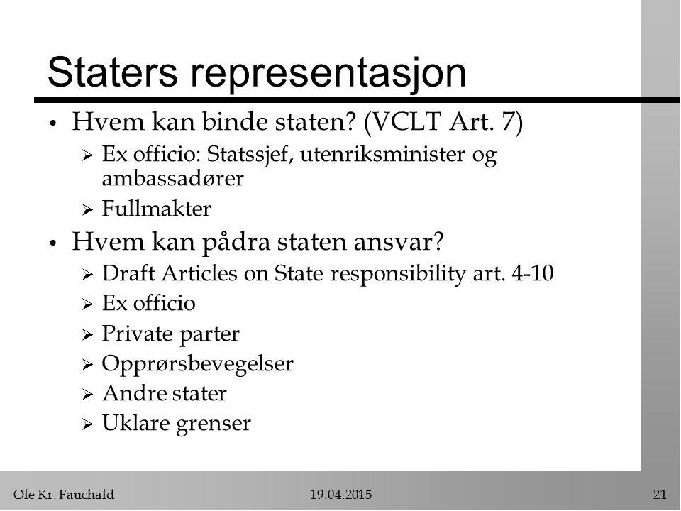 Ole Kr. Fauchald19.04.201521 Staters representasjon Hvem kan binde staten? (VCLT Art. 7)  Ex officio: Statssjef, utenriksminister og ambassadører  F
