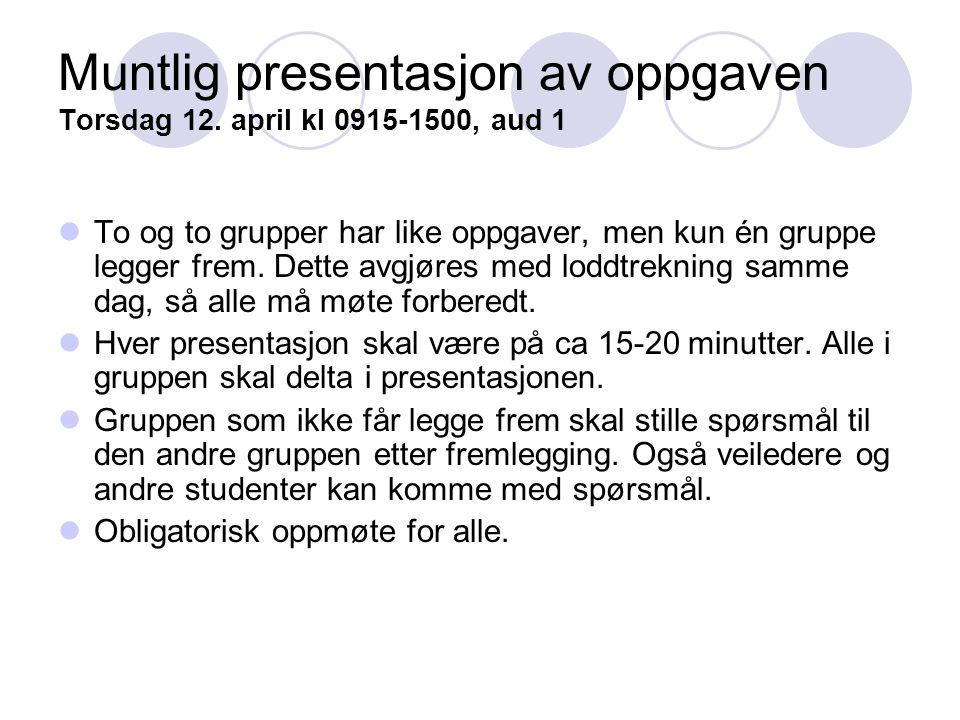 Muntlig presentasjon av oppgaven Torsdag 12. april kl 0915-1500, aud 1 To og to grupper har like oppgaver, men kun én gruppe legger frem. Dette avgjør
