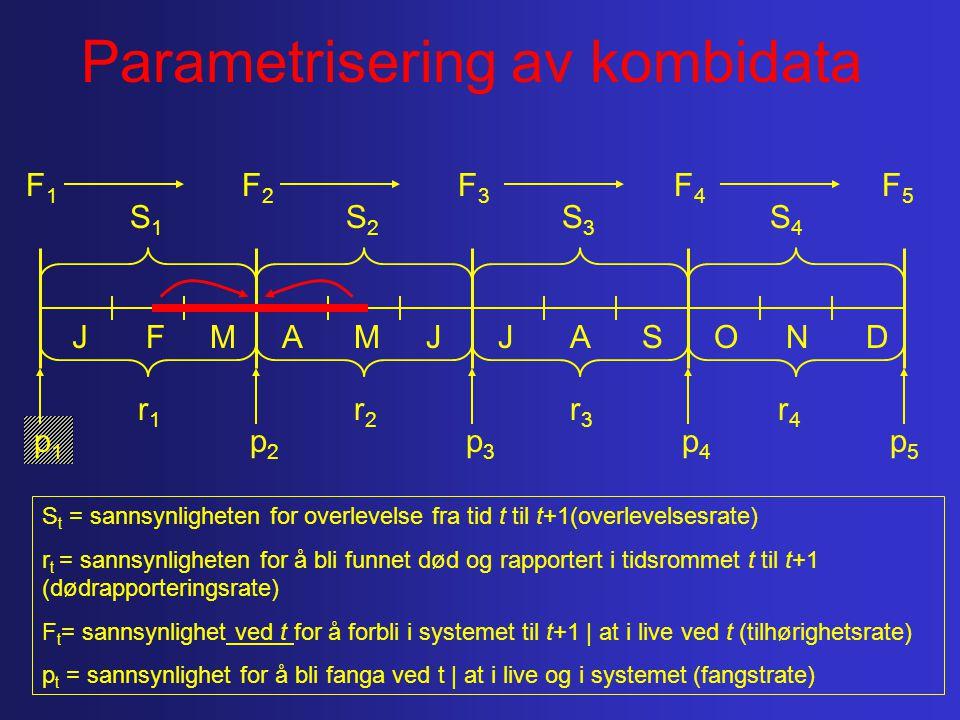 MAMJJASONDFJ p1p1 p5p5 p4p4 p3p3 p2p2 F1F1 F5F5 F4F4 F3F3 F2F2 r4r4 r3r3 r2r2 r1r1 S4S4 S3S3 S2S2 S1S1 S t = sannsynligheten for overlevelse fra tid t til t+1(overlevelsesrate) r t = sannsynligheten for å bli funnet død og rapportert i tidsrommet t til t+1 (dødrapporteringsrate) F t = sannsynlighet ved t for å forbli i systemet til t+1 | at i live ved t (tilhørighetsrate) p t = sannsynlighet for å bli fanga ved t | at i live og i systemet (fangstrate) Parametrisering av kombidata