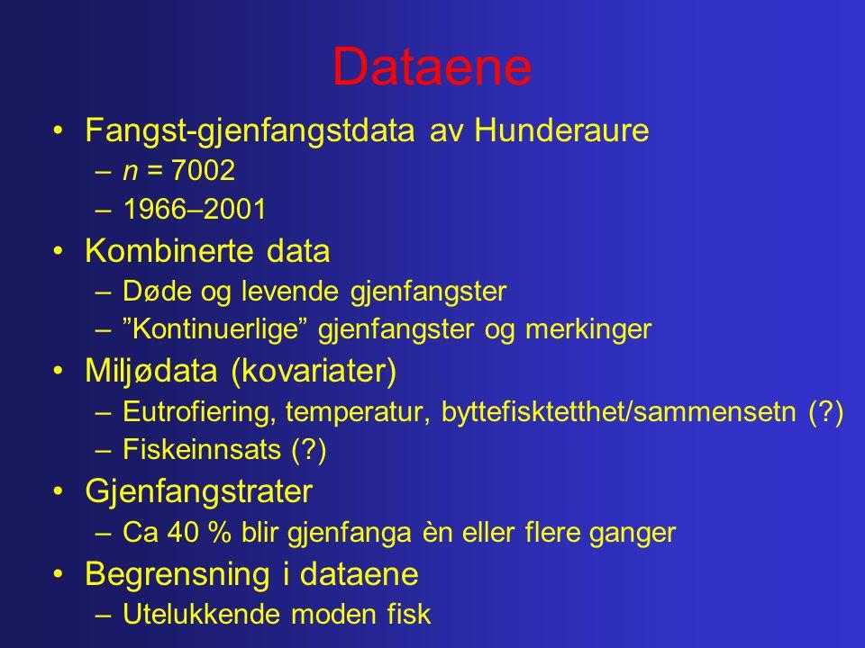 Dataene Fangst-gjenfangstdata av Hunderaure –n = 7002 –1966–2001 Kombinerte data –Døde og levende gjenfangster – Kontinuerlige gjenfangster og merkinger Miljødata (kovariater) –Eutrofiering, temperatur, byttefisktetthet/sammensetn ( ) –Fiskeinnsats ( ) Gjenfangstrater –Ca 40 % blir gjenfanga èn eller flere ganger Begrensning i dataene –Utelukkende moden fisk