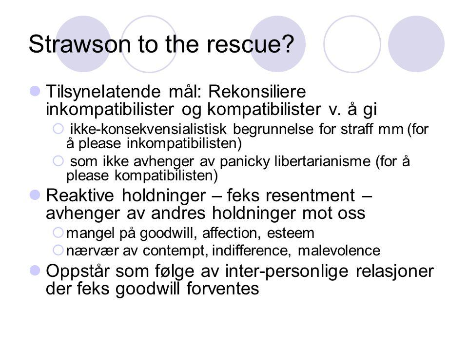 Strawson to the rescue. Tilsynelatende mål: Rekonsiliere inkompatibilister og kompatibilister v.