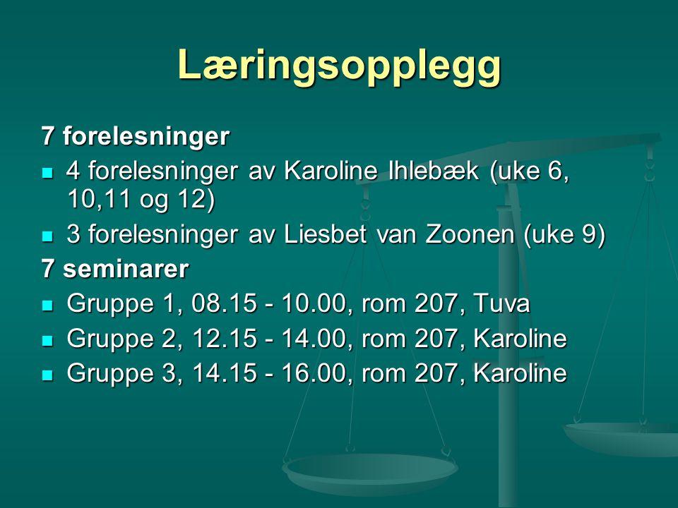 Læringsopplegg 7 forelesninger 4 forelesninger av Karoline Ihlebæk (uke 6, 10,11 og 12) 4 forelesninger av Karoline Ihlebæk (uke 6, 10,11 og 12) 3 for