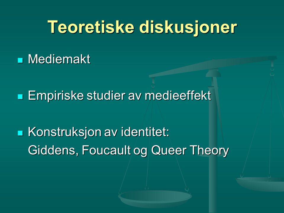 Teoretiske diskusjoner Mediemakt Mediemakt Empiriske studier av medieeffekt Empiriske studier av medieeffekt Konstruksjon av identitet: Konstruksjon a