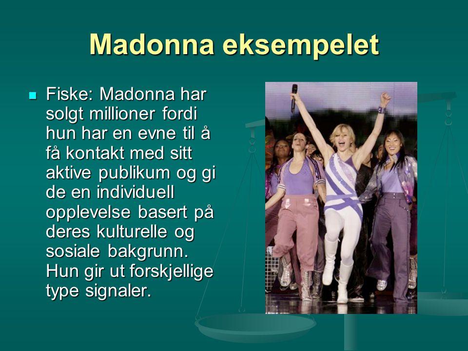 Madonna eksempelet Fiske: Madonna har solgt millioner fordi hun har en evne til å få kontakt med sitt aktive publikum og gi de en individuell opplevel