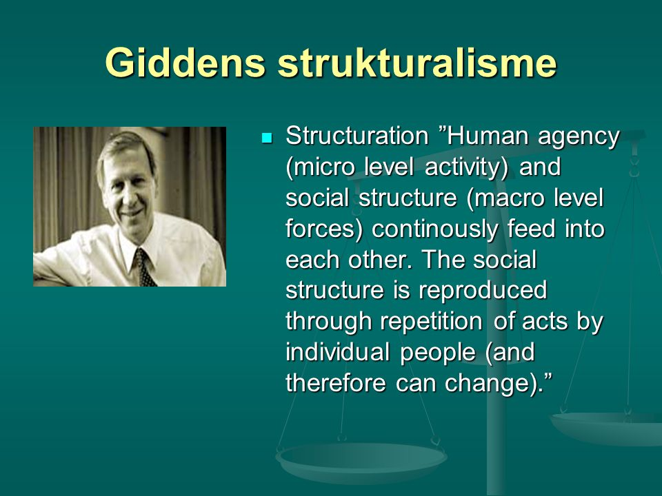 "Giddens strukturalisme Structuration ""Human agency (micro level activity) and social structure (macro level forces) continously feed into each other."