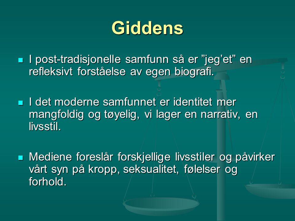 """Giddens I post-tradisjonelle samfunn så er """"jeg'et"""" en refleksivt forståelse av egen biografi. I post-tradisjonelle samfunn så er """"jeg'et"""" en refleksi"""