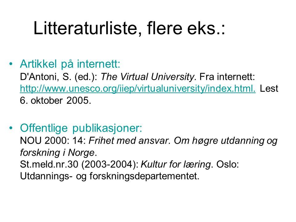 Litteraturliste, flere eks.: Artikkel på internett: D'Antoni, S. (ed.): The Virtual University. Fra internett: http://www.unesco.org/iiep/virtualunive