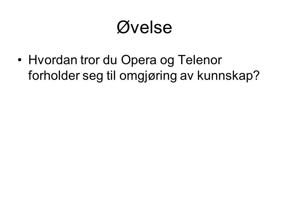 Øvelse Hvordan tror du Opera og Telenor forholder seg til omgjøring av kunnskap