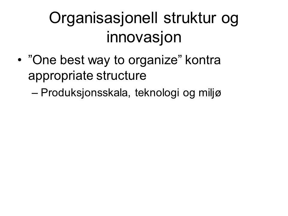Organisasjonell struktur og innovasjon One best way to organize kontra appropriate structure –Produksjonsskala, teknologi og miljø