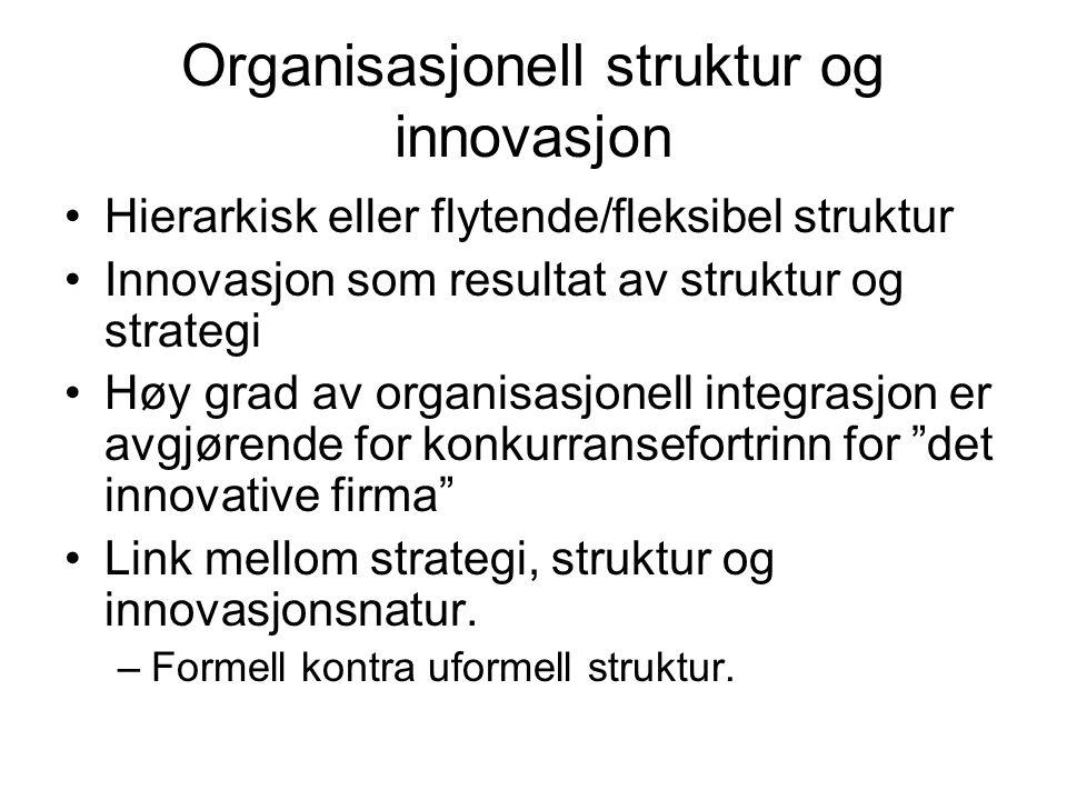 Organisasjonell struktur og innovasjon Hierarkisk eller flytende/fleksibel struktur Innovasjon som resultat av struktur og strategi Høy grad av organisasjonell integrasjon er avgjørende for konkurransefortrinn for det innovative firma Link mellom strategi, struktur og innovasjonsnatur.