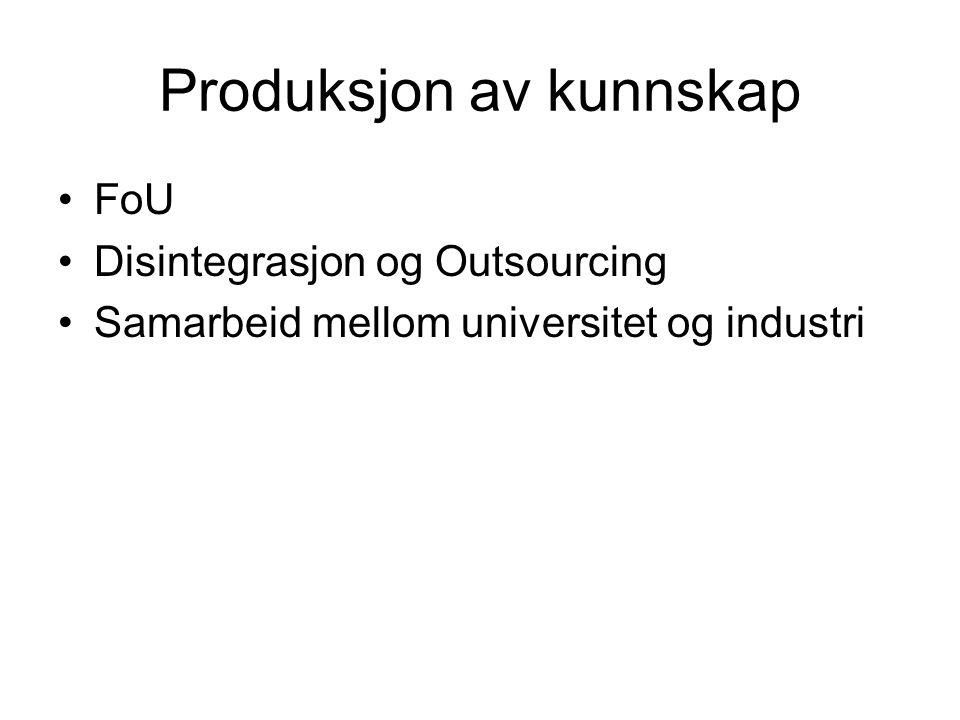 Produksjon av kunnskap FoU Disintegrasjon og Outsourcing Samarbeid mellom universitet og industri
