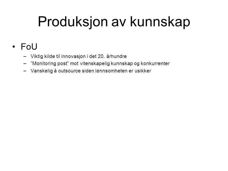 Produksjon av kunnskap FoU –Viktig kilde til innovasjon i det 20.