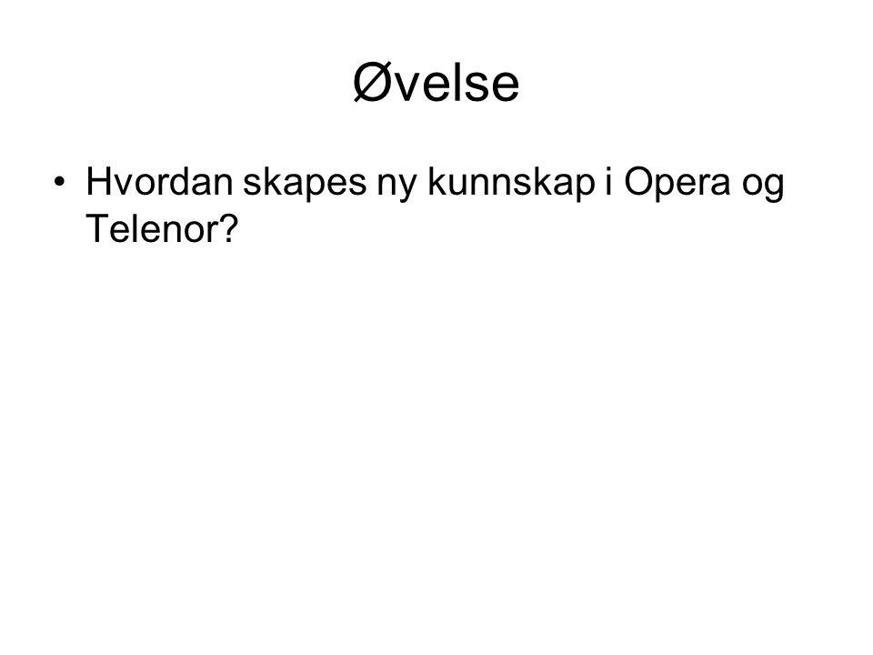Øvelse Hvordan skapes ny kunnskap i Opera og Telenor