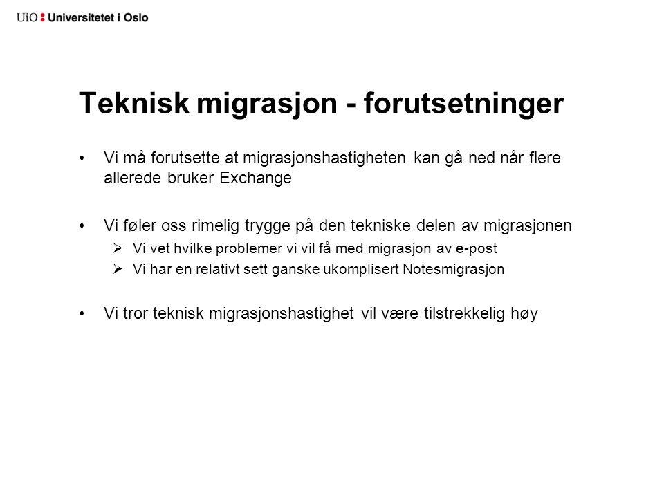 Teknisk migrasjon - forutsetninger Vi må forutsette at migrasjonshastigheten kan gå ned når flere allerede bruker Exchange Vi føler oss rimelig trygge på den tekniske delen av migrasjonen  Vi vet hvilke problemer vi vil få med migrasjon av e-post  Vi har en relativt sett ganske ukomplisert Notesmigrasjon Vi tror teknisk migrasjonshastighet vil være tilstrekkelig høy