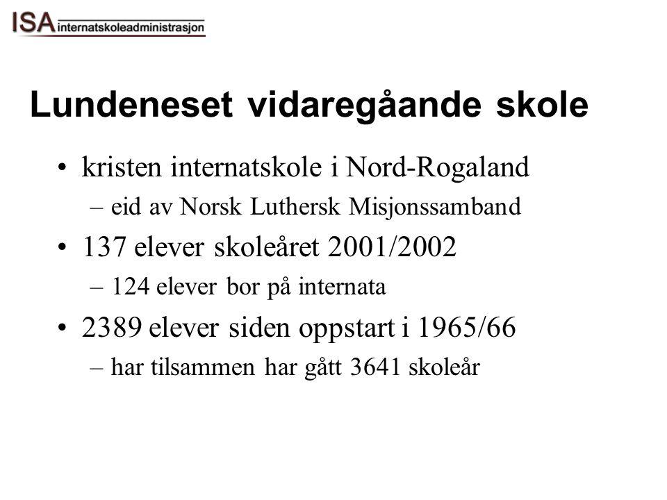 Lundeneset vidaregåande skole kristen internatskole i Nord-Rogaland –eid av Norsk Luthersk Misjonssamband 137 elever skoleåret 2001/2002 –124 elever b