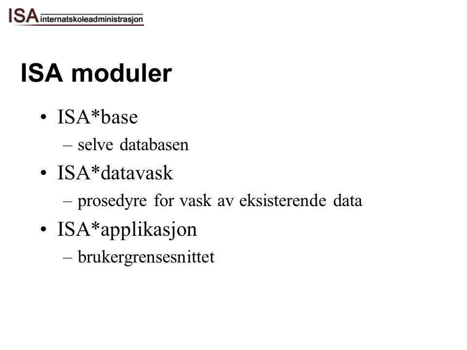 ISA moduler ISA*base –selve databasen ISA*datavask –prosedyre for vask av eksisterende data ISA*applikasjon –brukergrensesnittet