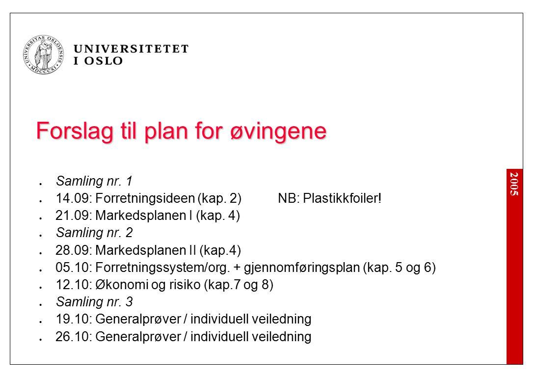 2005 Forslag til plan for øvingene Samling nr. 1 14.09: Forretningsideen (kap.