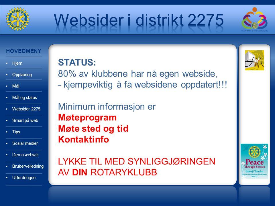 HOVEDMENY Hjem Opplæring Mål Mål og status Websider 2275 Smart på web Tips Sosial medier Demo webwiz Brukerveiledning Utfordringen STATUS: 80% av klub