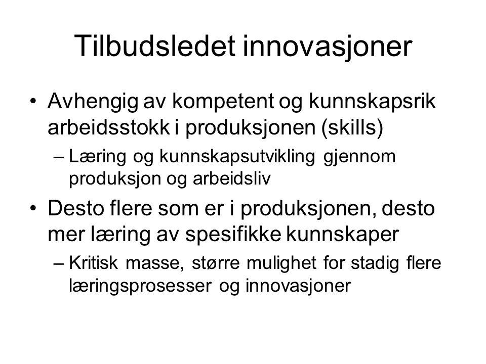 Tilbudsledet innovasjoner Avhengig av kompetent og kunnskapsrik arbeidsstokk i produksjonen (skills) –Læring og kunnskapsutvikling gjennom produksjon