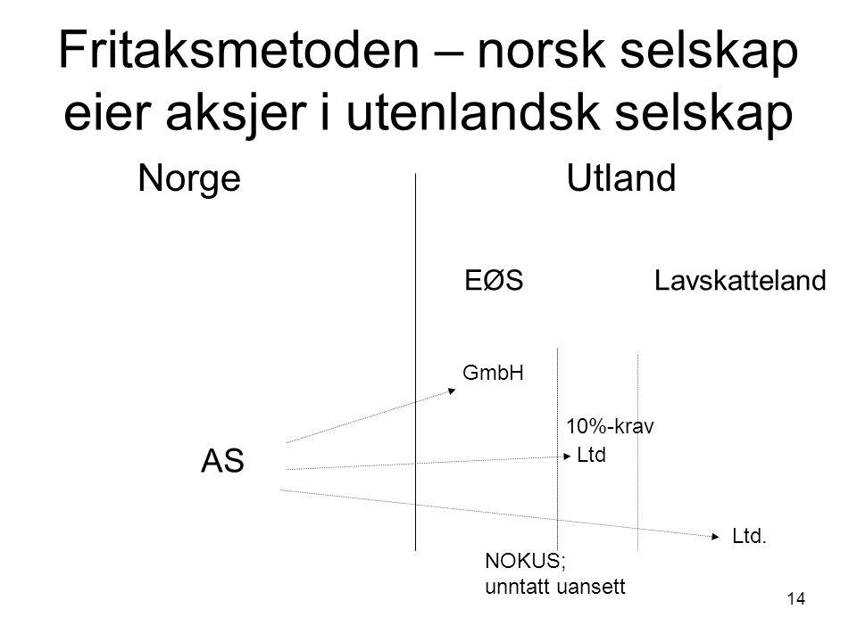 14 Fritaksmetoden – norsk selskap eier aksjer i utenlandsk selskap Norge Utland AS EØS Lavskatteland GmbH Ltd Ltd.